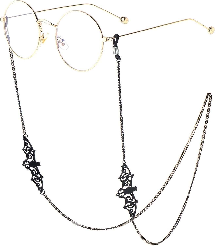 Metal Eyeglasses Chain Black Hollow-out Bat Eyeglasses Chain Eyewear Retainer Elegant Holder Strap Cord for Adult Men Women (Only Chain)