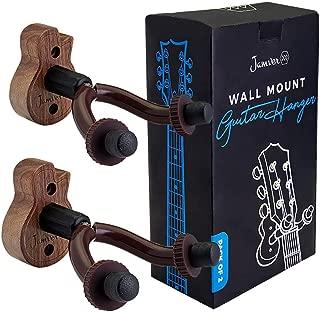 Guitar Ukulele Wall Mount Hanger - 2 Pack Hook Holder for Ukulele, Bass, Electric, Acoustic Guitar, Violin, Banjo and Mandolin, crafted from Black Walnut Wood by Jamver