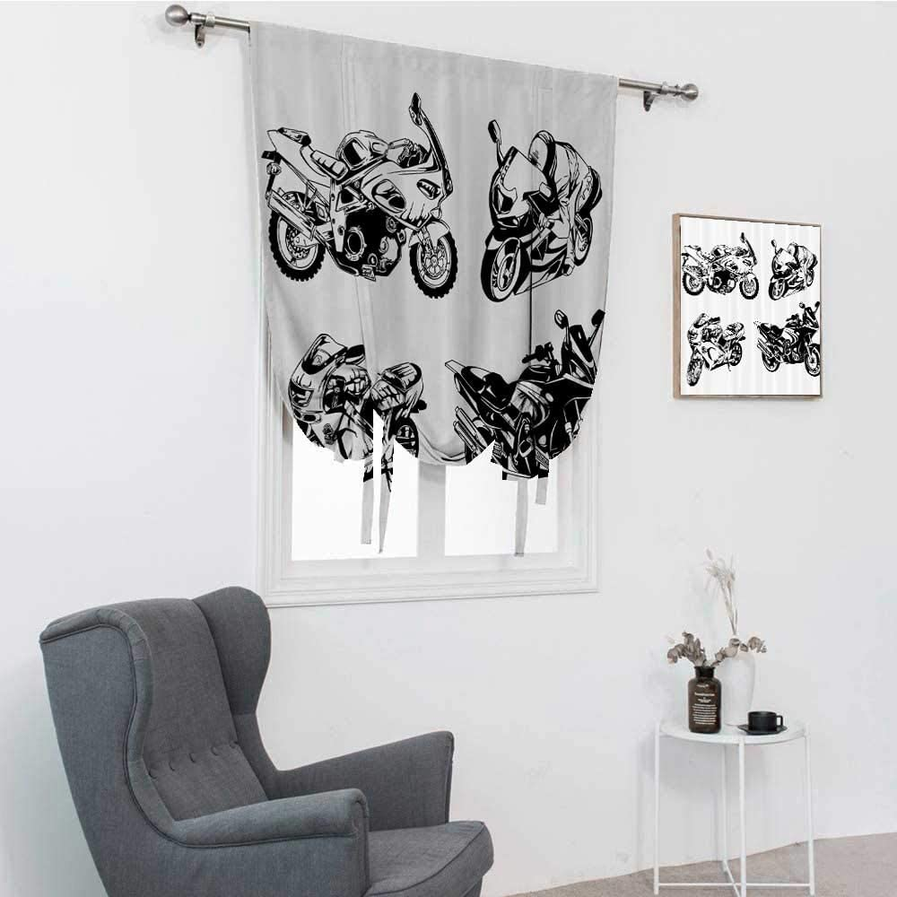 GugeABC Motorcycle Decor Roman Shades for Windows, Cartoon Motor