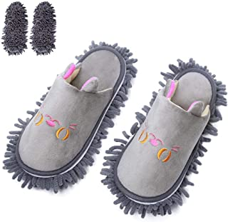 KISSTAKER One Pair Mop Cleaning Dusters House Slippers Shoes Cover Detachable Mopping Shoes Grey