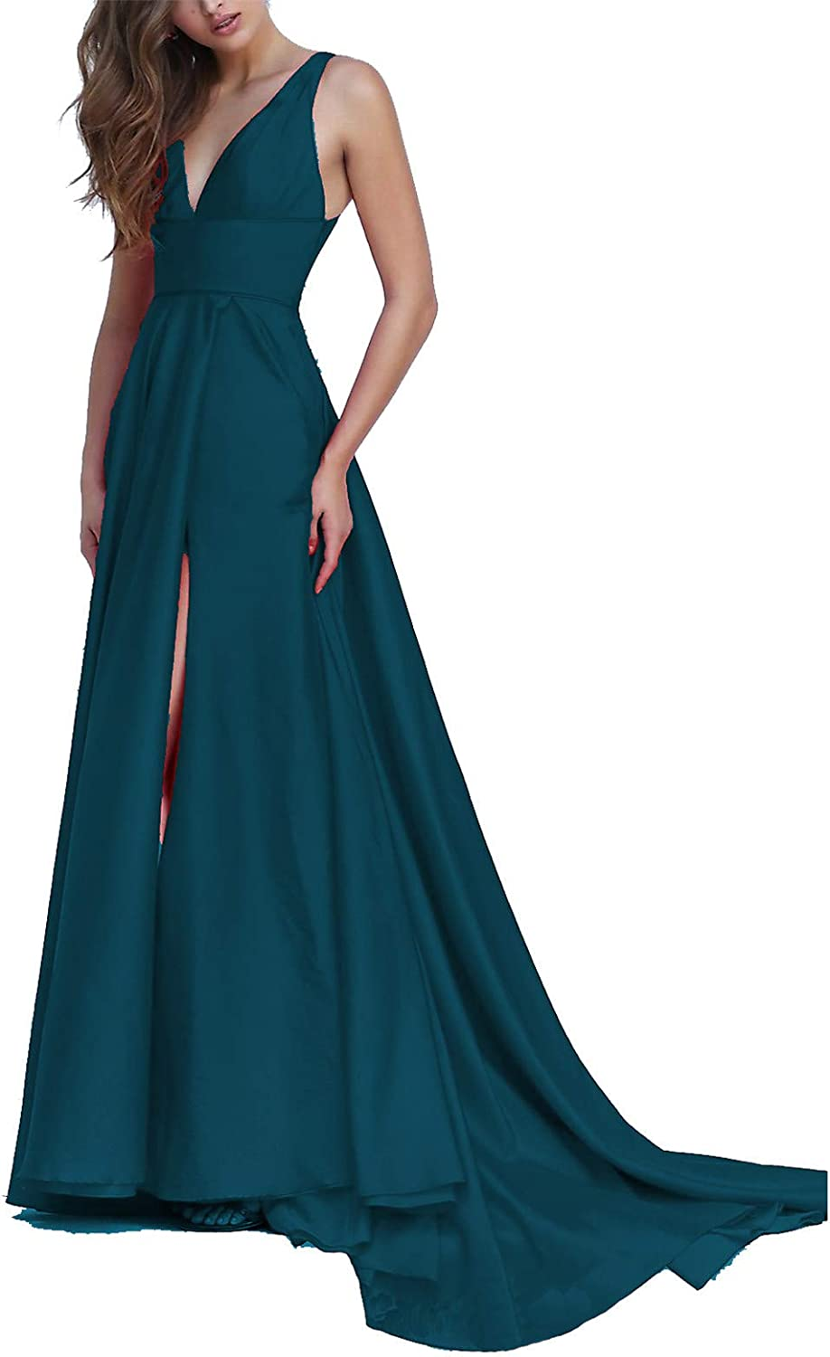 EverBeauty Womens Long Satin V Neck Prom Dresses Aline Evening Gown with Slit