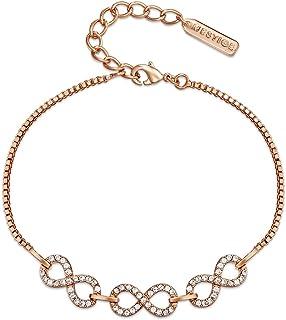Mestige Women Glass Rose Gold Never-ending Bracelet with Swarovski Crystals