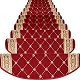 TINTON LIFE Set of 13 Non-Slip Washable Stair Treads Carpet with Skid Resistant Rubber Backing Indoor Wooden Step Mats Self-Adhesive Stair Protectors 9.4' x 25.2' Diamond Red