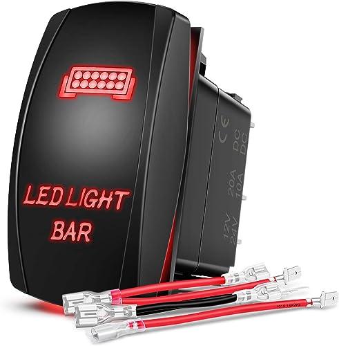 high quality Nilight 90001R LED Light Bar Rocker Switch Red 5Pin Laser On/Off LED Light 20A/12V 10A/24V Switch Jumper online Wires Set ,2 2021 years Warranty sale