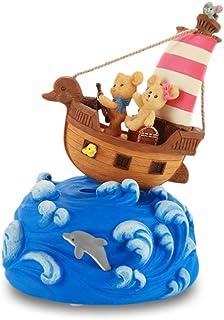 Decoration Little Bear Nautical Music Box Wave Music Box Ship Swing Music Box Birthday Gift/Christmas Gift Crystal Ball Mu...