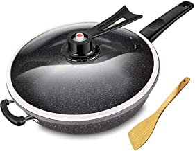 ZLDGYG 32cm Iron Skillets Maifan Stone Coating Frying Pan Wok Pressure Vacuum Cooking Pot With LID For Gas Stove & Inducti...
