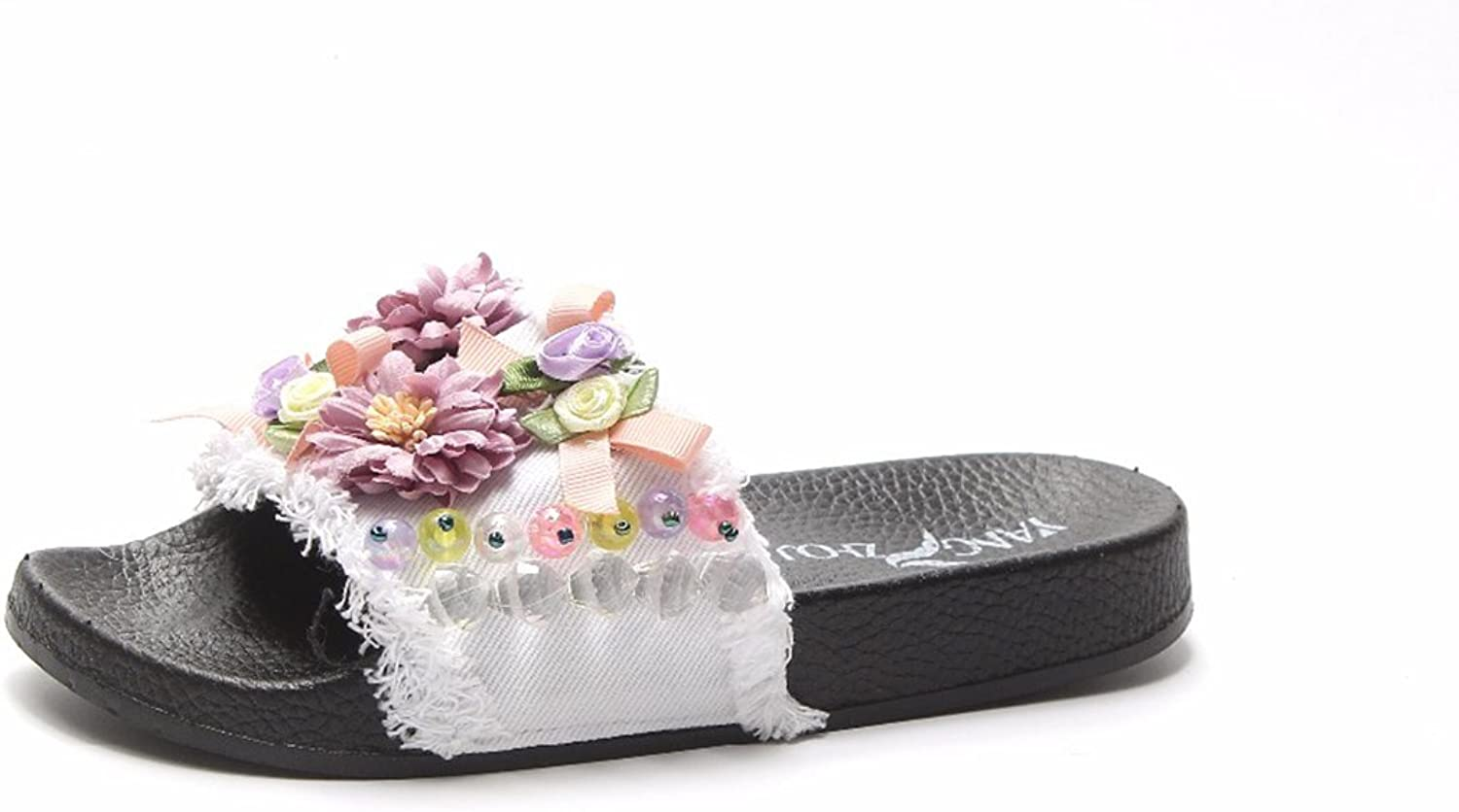 New Summer Fashion Sweet Flower String Bead Beach Slippers Summer Slides Flat shoes for Ladies