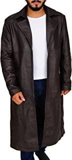 Mens Western Wear Cowhide Leather Long Coat Cowboy Style Trench Jacket