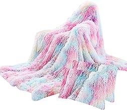Small Conjunto de 3 peças/cobertor fofo com capa de almofada, cobertor de lã macio para crianças e adultos