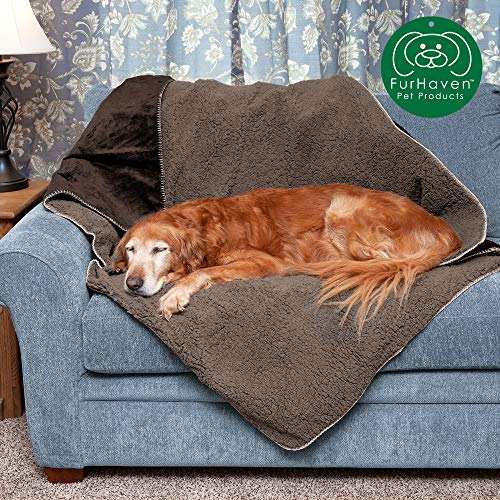 Furhaven Pet Dog Bed Blanket | Snuggly & Warm Faux Lambswool & Terry 100% Waterproof Insulated...