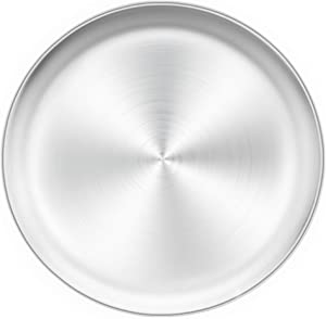 TeamFar Pizza Pan, 13.4 inch Pizza Pan Stainless Steel Large Pizza Pan Tray Round Pizza Oven Baking Pan, Healthy & Heavy Duty, Oven & Dishwasher Safe