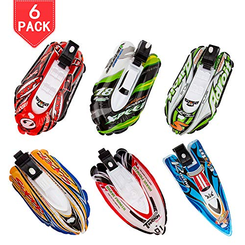 PROLOSO 6 Pack Bath Toys Assorted Inflatable Yachts Wind Up Toys Clockwork Boats