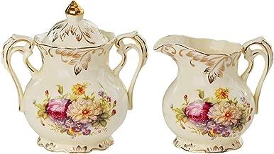 YOLIFE Flowering Shrubs Pattern Golden Leaves Edge Sugar and Creamer Bowl Set