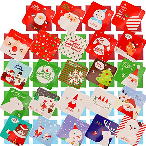 HOWAF 144 Piezas pequeño Tarjetas de Navidad, Feliz Navidad