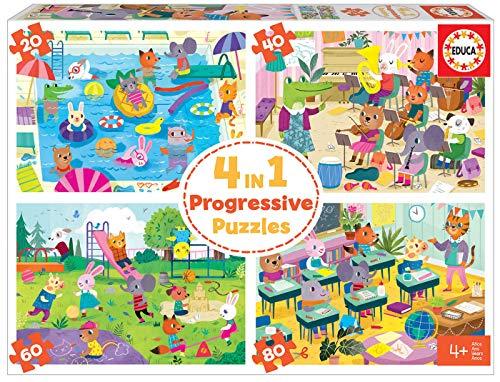 Educa 18904 4 en 1 Un Día en la Escuela. Puzzles Progresivos Infantiles. 20, 40, 60 y 80 Piezas. +4 años. Ref, Multicolor