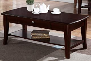 Poundex PDEX-F6279 Contemporary Rich Gloss Wood Rectangular Coffee Table with Drawer, Brown