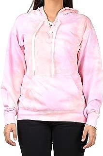 Kara Hub Long Sleeve V Neck Pullover Tie Dye Hoodie Sweatshirt Tubular Drawcord