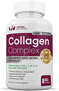 Multi Collagen Peptide Capsules (Types I,II,III,V,X) - Anti Aging Formula, Healthy Skin & Hair - Strong Joints, Bones & Nails Support - Promotes Glowing & Vibrant Skin for Women and Men - 60 Capsules