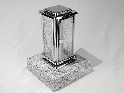 designgrab Grablampe mit Granit Sockel 20x20x5 cm aus messingfarbenem Aluminium in Antikoptik mit Kreuz und Granit Nero Impala//Astor anthrazit
