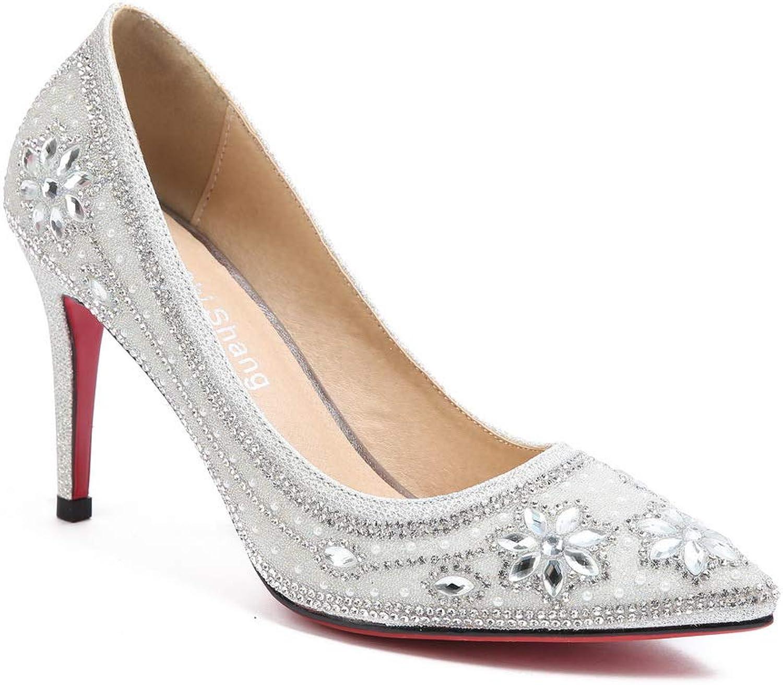 AN Womens Spikes Stilettos Pointed-Toe Microfiber Pumps shoes DGU00764