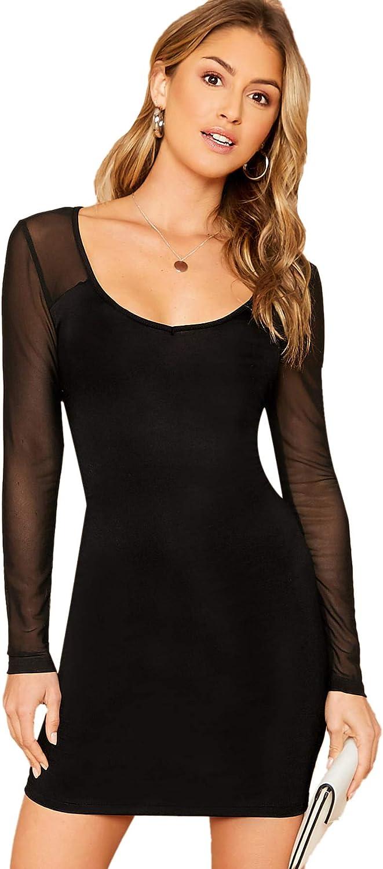 SheIn Women's Elegant Scoop Neck Sheer Long Sleeve Stretch Bodycon Mini Dress