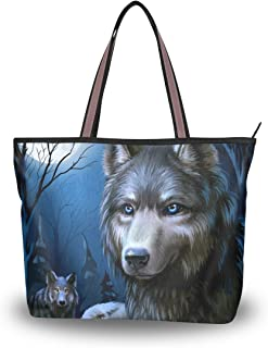 ALAZA Tote Umhängetasche Wolf Handtasche Große