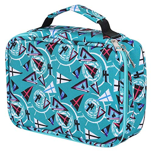 Bolsa para lápis, zíper com várias camadas equipado com alça, estojo para caneta, 72 compartimentos grandes (verde geométrico), 72 varetas)