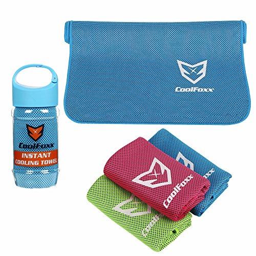 CoolFoxx Toalla de enfriamiento, 40'x12 Toalla de Hielo Fresco, poliéster Suave de Doble Cara para Pieles sensibles, Manténgase Fresco para Yoga, Golf, Acampar, Viajar al Aire Libre (Azul)