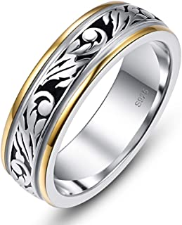 AVECON 925 Sterling Silver Wedding Band Ring for Men Women Unisex Vintage Floral Vine, Silver Gold Two Tone, Size 6-12