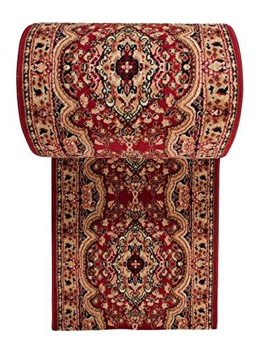 Tapis de Couloir Oriental Collection au Metre - Persan Motif - Résistant à Poil Court - « Verona» - Collection de Carpeto - Rouge Foncé Beige 60 x 200 cm