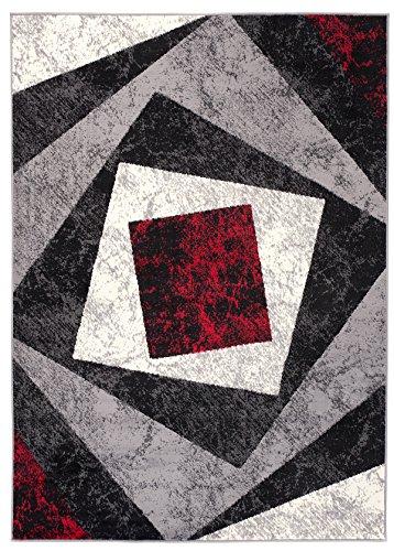 Carpeto Rugs Tapis Salon Noir 200 x 300 cm Moderne Geometrique/Monaco Collection
