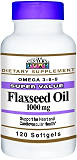 21st Century Flaxseed Oil 1000mg Softgels 120 Count (4 Pack)