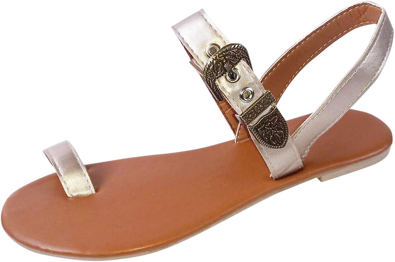 Sandals for Women Wedge,2021 Bohemia Style Flip Flops Toe Ring Summer Beach Sandals Comfort Walking Shoes