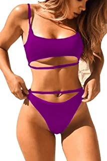 d6ad52334d QINSEN Women s Sexy Scoop Neck Cutout Strappy High Waist Thong 2PCS Bikini  Sets Swimsuit