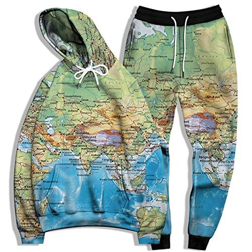 SSBZYES Traje De Sudadera para Hombre Sudadera De Talla Grande para Hombre Pantalones De Chándal De Talla Grande Sudadera con Capucha Suelta con Estampado De Mapa Traje De Sudadera
