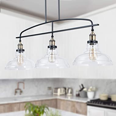 Lanros Vintage Rustic 3-Light Kitchen Island Lighting with Clear Glass Shades, 4 Cuts Adjustable Hanging Metal Rod Farmhouse