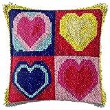DRTWE Kit De Ganchos De Pestillo,DIY Cuatro Corazones Preimpresos Pillowcase Latch Gancho Kit Rug Crocheting Craft Embroidery Making Tools Handmade Regalo para Adultos Niños Principiantes