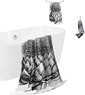 Mademai Artichoke Cotton Towel Cover 3 Pieces Vintage Illustration of a Flowering Perennial Plant Fresh Growth Artwork,Soft and Thick Towel-Machine washableBlack and White