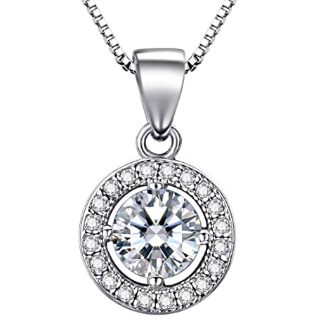 """Lydreewam 925 Sterling Silver Necklace for Women with 3A 6mm Cubic Zirconia Round Pendant Italy 18"""" Chain"""