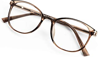 FONHCOO Blue Light Blocking Glasses Women Men TR90 Round Computer Eyeglasses (Coffee)