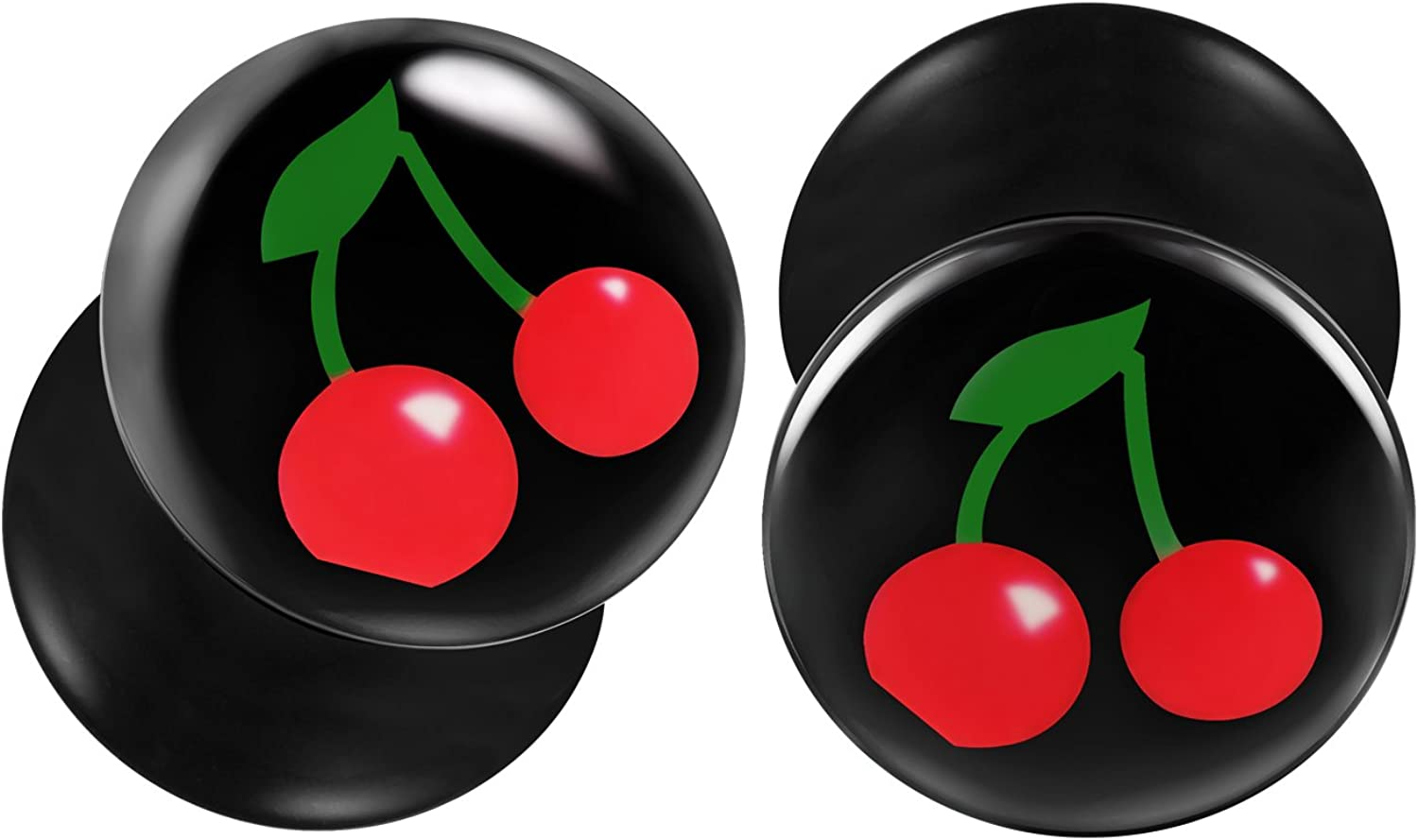 BIG GAUGES Pair of Black Acrylic Red Cherry Double Flared Piercing Jewelry Ear Stretcher Plugs Flesh Earring Lobe