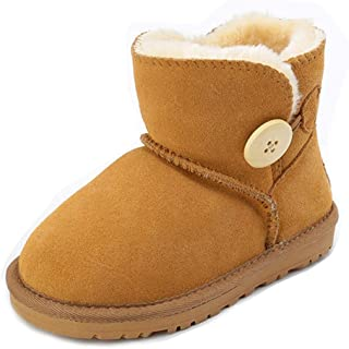 Boy's Girl's Warm Fur Snow Boot Flat Bailey Button Winter Outdoor Shoes Ankle Booties (Toddler/Little Kids)