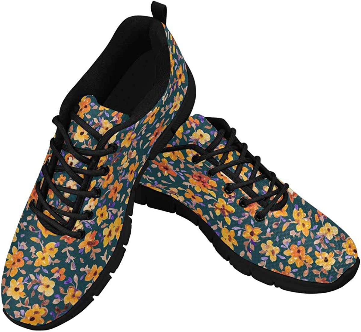 InterestPrint Colorful Flower Floral Women's Athletic Walking Shoes Comfort Mesh Non Slip