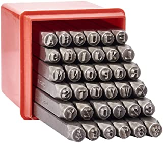 Pandahall 1Box/36pcs Iron Letter Alphabet Initials A-Z and Number 0-9 Seal Stamps Metal Steel Tag Pendant Stamping Tool Message Word Phrase Inked Set Black 60x6mm