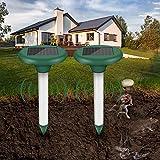 Sylanda Ahuyentador solar de topos ultrasónico, 2 unidades, para ahuyentar topos, roedores, roedores, repelente de moles, control de plagas con protección IP65 para jardín