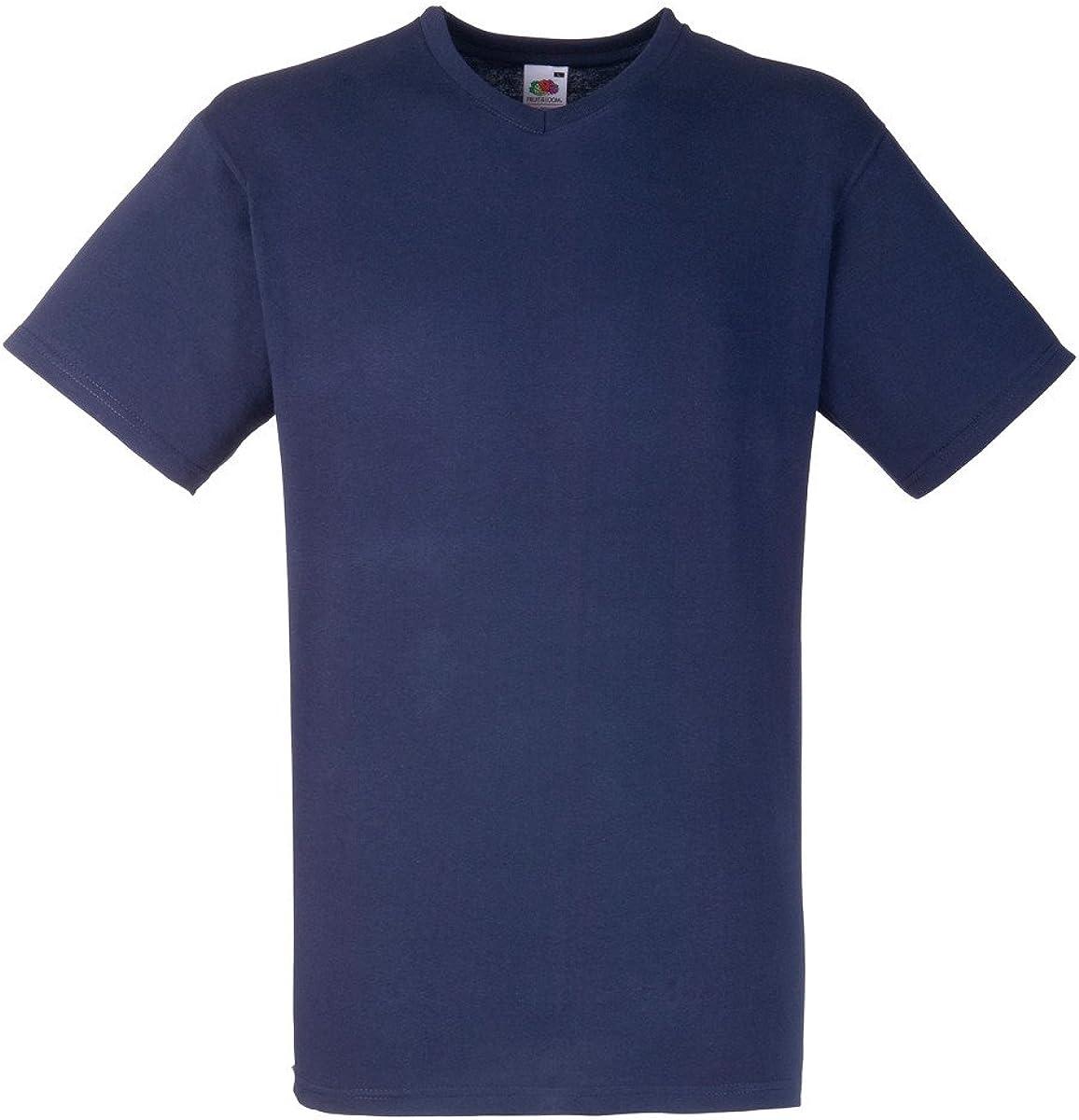 Fruit of the Loom Men's V Neck Value Short Sleeve T Shirt Deep Navy