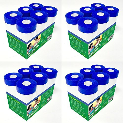 C&S Pretaped Drop Cloth 24 in x 75 ft with 18mm Blue Masking Tape, 24 Packs