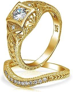 Bling Jewelry 1CT Stile Art Deco Solitario Rotonda AAA in Filigrana CZ Pave Fascia Sagomata A Nozze di Impegno Set Anello ...