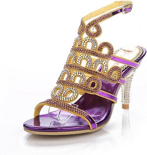 HIGHXE Sandales à Talons Hauts Fines avec Strass Femmes Chaussures Slim Femmes Hauts Talons Les Les dames Occasionnels Sandales d'été