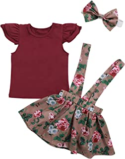 Toddler Baby Girls Summer Outfits Short Sleeve Ruffle Top Floral Suspender Skirt with Headband Outfits Sets